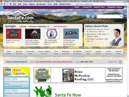 El relanzamiento de SantaFe.com como una página web con publicidad requiere un nuevo plan de negocio. [Cred